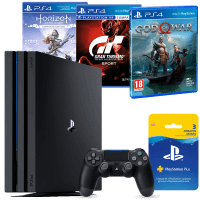 PlayStation 4 Pro 1TB + Horizon Zero Dawn + God of War + Gran Turismo Sport + Pluscard