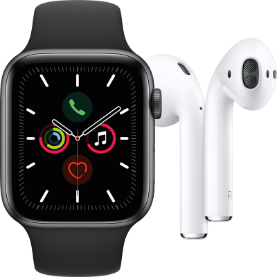 Apple Watch Series 5 (GPS + Cellular) 44mm + Airpods töltőtokkal (2. generáció)