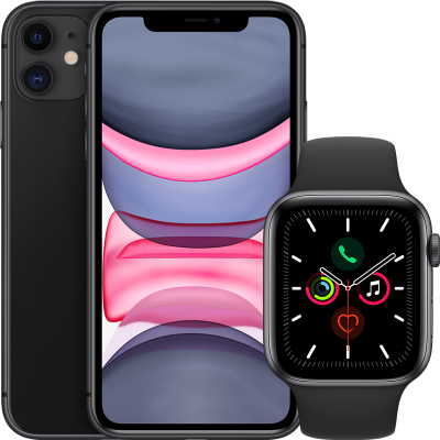 Apple Watch Series 5 (GPS + Cellular) 44mm + iPhone 11 64GB
