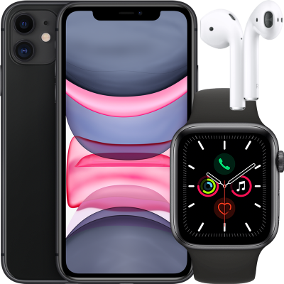 Apple Watch Series 5 (GPS + Cellular) 44mm + iPhone 11 64GB + Airpods töltőtokkal       (2. generáció)